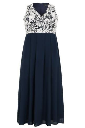 AX PARIS CURVE Navy Maxi Dress With White Lace Overlay Bodice