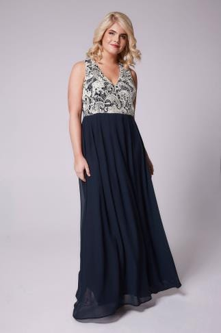 Evening Dresses AX PARIS CURVE Navy Maxi Dress With White Lace Overlay Bodice 138559