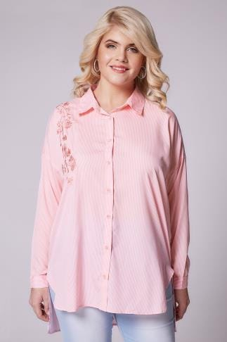 Shirts AX PARIS CURVE Pink & White Pinstripe Shirt With Floral Embroidery 138556
