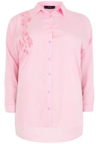 AX PARIS CURVE Pink & White Pinstripe Shirt With Floral Embroidery