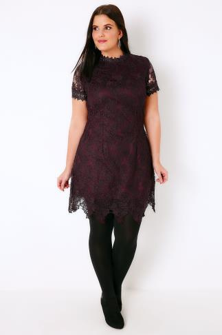 AX PARIS CURVE Purple Turtle Neck Lace Overlay Dress