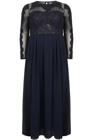 AX PARIS CURVE Navy Chiffon Maxi Dress With Floral Lace Bodice