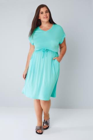 Midi Dresses Aqua Blue T-Shirt Dress With Pockets & Elasticated Waistband 136071