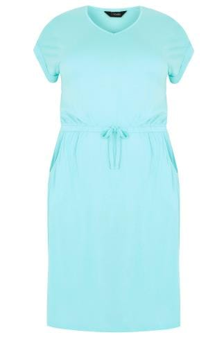 Aqua Blue T-Shirt Dress With Pockets & Elasticated Waistband