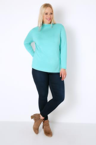 Aqua Turtle Neck Long Sleeved Soft Touch Jersey Top 156034