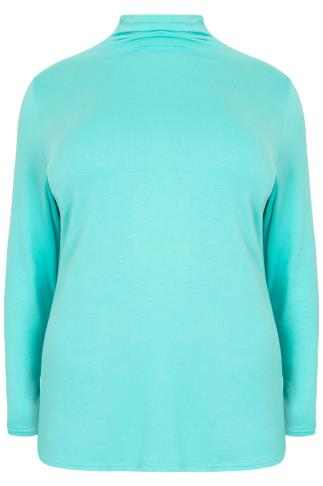 Aqua Turtle Neck Long Sleeved Soft Touch Jersey Top
