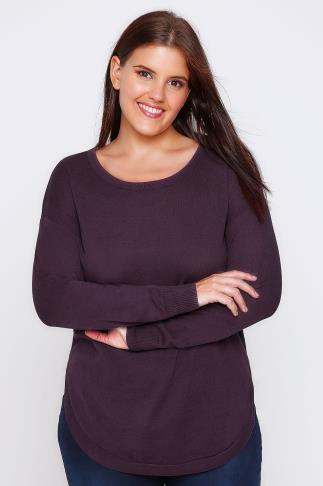 Aubergine Purple Long Sleeve Jumper with Keyhole Back Detail