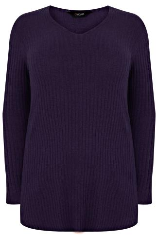 Aubergine Purple Wool Blend Ribbed Jumper With Side Slit Detail
