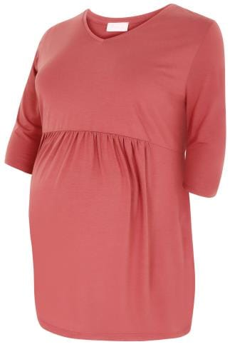 BUMP IT UP MATERNITY Rose Pink Ruched Waist Longline Top
