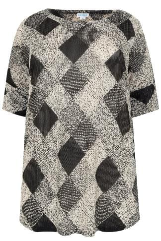 Oberteile BLUE VANILLA CURVE Black & White Diamond Pattern Knitted Top 138759
