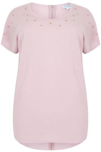 BLUE VANILLA CURVE Blush Pink Top With Studded Neckline & Zip Back