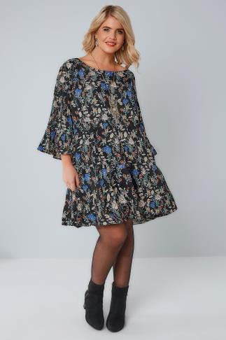 Tunic Dresses BLUE VANILLA CURVE Black & Blue Floral Tiered Flute Sleeve Tunic Dress 138709