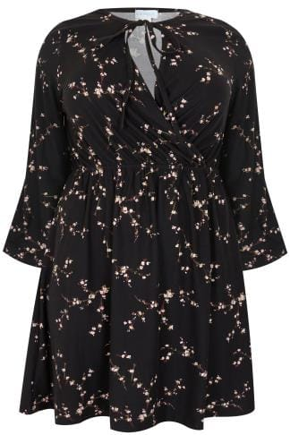 BLUE VANILLA CURVE Black Floral Wrap Dress With Elasticated Waistband & Tie Neck