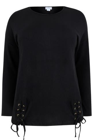 BLUE VANILLA CURVE Black Knitted Jumper With Double Lace-Up Hem
