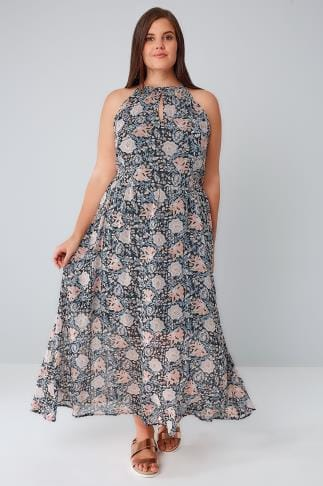 Maxi Dresses BLUE VANILLA CURVE Black & Multi Floral Print Sleeveless Maxi Dress 138568