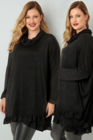 Jumpers BLUE VANILLA CURVE Black Roll Neck Cape Jumper With Layered Frilled Hem 138844