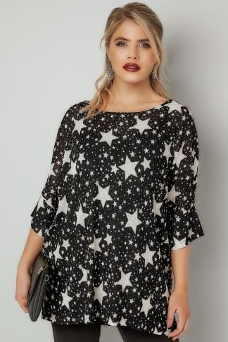 Day Tops BLUE VANILLA CURVE Black & White Star Print Knitted Top 138854