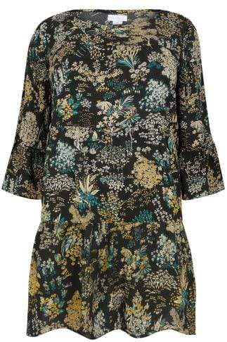 Tunic Dresses BLUE VANILLA CURVE Black & Yellow Floral Tiered Flute Sleeve Tunic Dress 138710