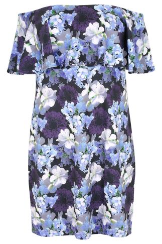 BLUE VANILLA CURVE Blue & Multi Floral Print Bardot Frill Dress