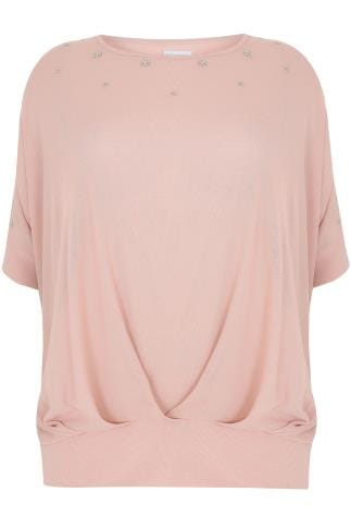 BLUE VANILLA CURVE Dusty Pink Top With Eyelet Detail
