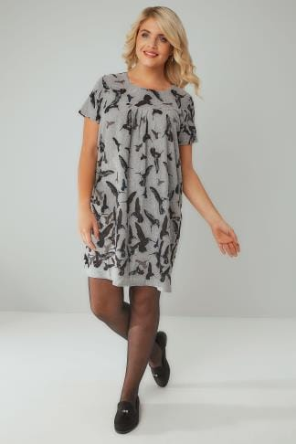 Tunic Dresses BLUE VANILLA CURVE Grey & Black Hummingbird Print Soft Touch Tunic Dress 138760