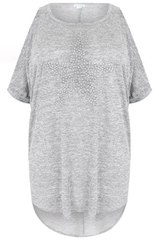 BLUE VANILLA CURVE Grey Cold Shoulder Oversized Top With Star Stud Print