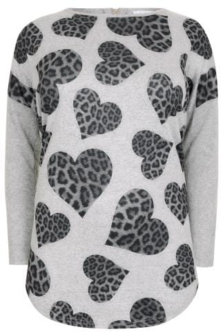 BLUE VANILLA CURVE Grey Fine Knit Top With Leopard Print Hearts & Zip Back