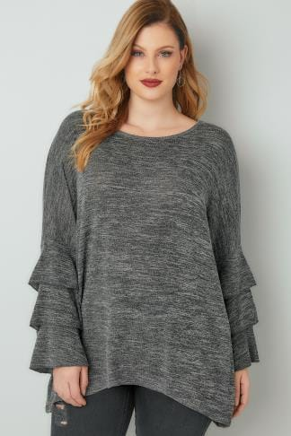 Day Tops BLUE VANILLA CURVE Grey Jumper With Frilled Flared Sleeves 138826