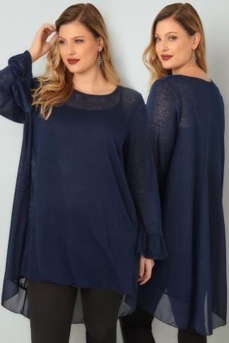 Knitted Tops BLUE VANILLA CURVE Navy Fine Knit Swing Top With Chiffon Panels & Flute Cuffs 138841