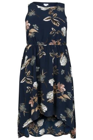 Midi Dresses BLUE VANILLA CURVE Navy Floral Midi Pocket Dress With Dip Hem 138708