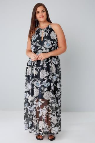Maxi Dresses BLUE VANILLA CURVE Navy Rose Print Sleeveless Maxi Dress 138546