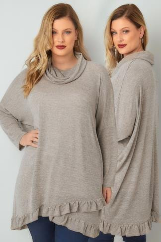 Jumpers BLUE VANILLA CURVE Oatmeal Roll Neck Cape Jumper With Layered Frilled Hem 138843