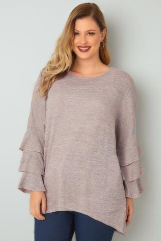 Jumpers BLUE VANILLA CURVE Pink & Grey Jumper With Layered Frilled Sleeves 138827