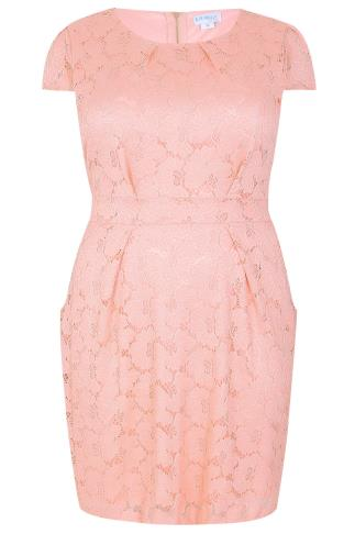 BLUE VANILLA CURVE Pink Lace Pleated Pocket Dress