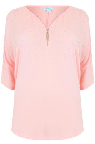 BLUE VANILLA CURVE Pink Top With Zip Front & Gem Embellishment