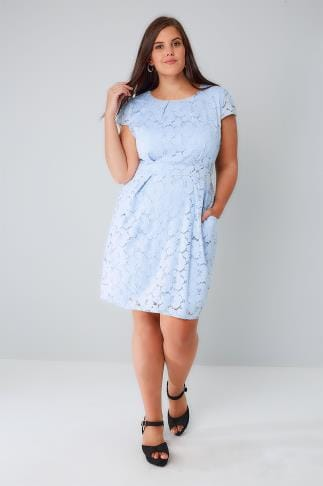 Sleeved Dresses BLUE VANILLA CURVE Powder Blue Lace Pleated Pocket Dress 138547