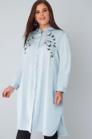 Shirts BLUE VANILLA CURVE Powder Blue Silky Maxi Shirt With Embroidered Detail 138641