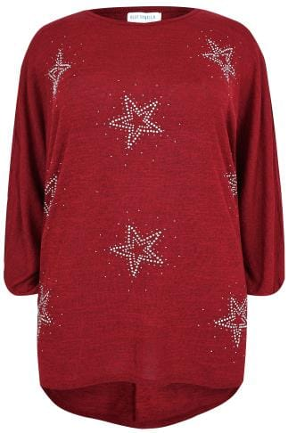 BLUE VANILLA CURVE Red Fine Knit Top With Star Embellishment & Dipped Hem