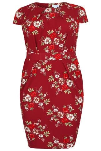 BLUE VANILLA CURVE Red Floral Print Shift Dress With Pockets