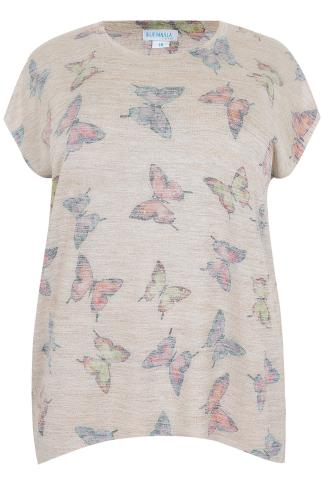BLUE VANILLA CURVE Stone & Multi Butterfly Print Embellished Top