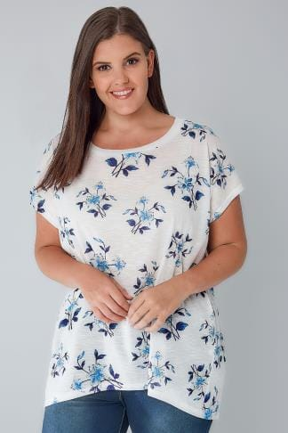 Longline Tops BLUE VANILLA CURVE White & Blue Floral Oversized Top 138662