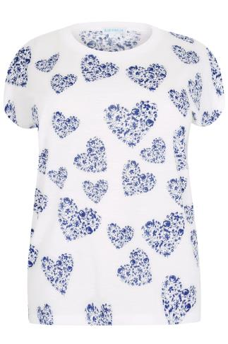 BLUE VANILLA CURVE White & Blue Heart Print Embellished Top