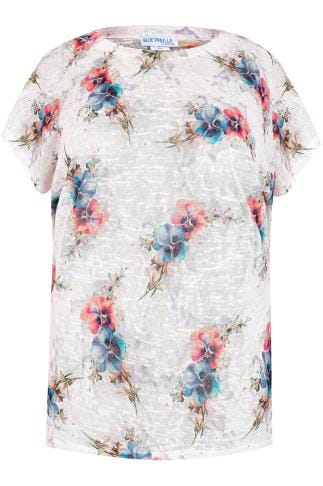 BLUE VANILLA CURVE White, Blue & Pink Floral Oversized Top