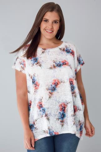 Longline Tops BLUE VANILLA CURVE White, Blue & Pink Floral Oversized Top 138661