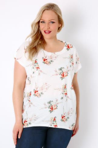 BLUE VANILLA CURVE White & Multi Blossom Print Embellished Top