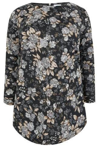 Longline Tops BLUE VANILLA CURVE Black Floral Print Fine Knit Longline Top With Zip Back 138755