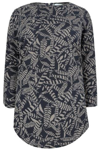 Longline Tops BLUE VANILLA CURVE Navy Leaf Print Fine Knit Longline Top With Zip Back 138757