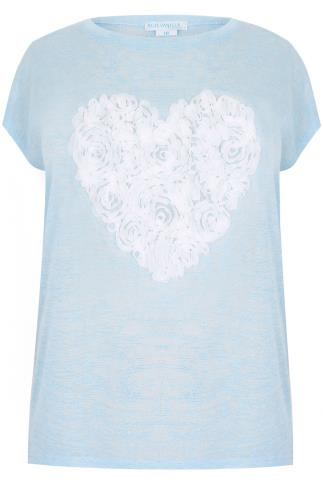 BLUE VANILLA CURVE Sky Blue Fine Knit Top With Pretty Heart Detail