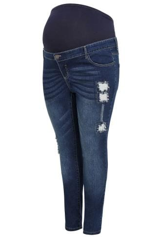 BUMP IT UP Blue Super Stretch Sequin Jeans With Comfort Panel