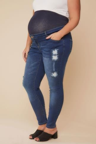 Jeans und Jeggings BUMP IT UP Blaue Super Stretch Pailletten-Jeans mit Bauchband 158063